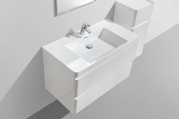 Picture of Contemporary WHITE Bathroom cabinet with rounded corners, 900 mm L, 2 drawers, DELIVERED to CAPE TOWN