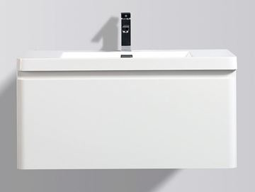 Picture of WHITE Contemporary Bathroom cabinet with rounded corners, 900 mm L with 1 drawer DELIVERED to CAPE TOWN