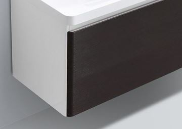 Picture of WHITE and CHESTNUT Contemporary Bathroom cabinet with rounded corners, 900 mm L, 1 drawer, DELIVERY to CAPE TOWN