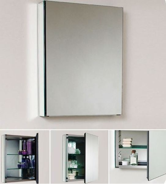 Picture of Mirror Bathroom cabinet / Medicine cabinet with 1 door and 2 shelves, 500 mm L, DELIVERED to CAPE TOWN