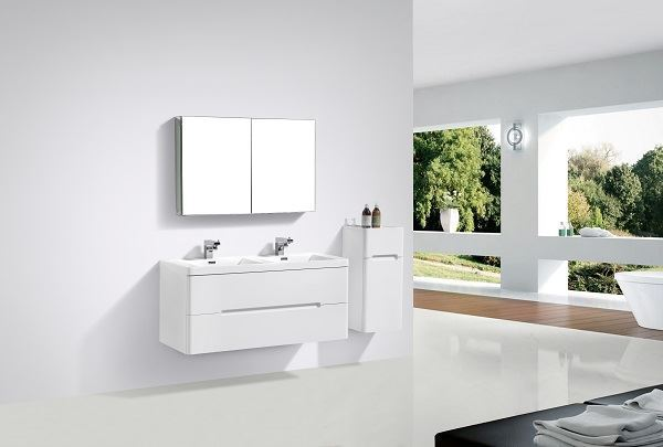 Picture of Venice Trendy WHITE double bathroom cabinet 1200 mm L, rounded corners, 2 drawers, DELIVERED to CAPE TOWN