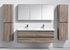 Picture of WHITE Contemporary double bathroom cabinet 1500 mm L, rounded corners, 4 drawers, DELIVERED to CAPE TOWN