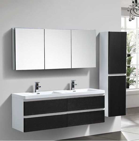 Picture of White & BLACK Contemporary double bathroom cabinet 1500 mm L with 4 drawers DELIVERED to CAPE TOWN