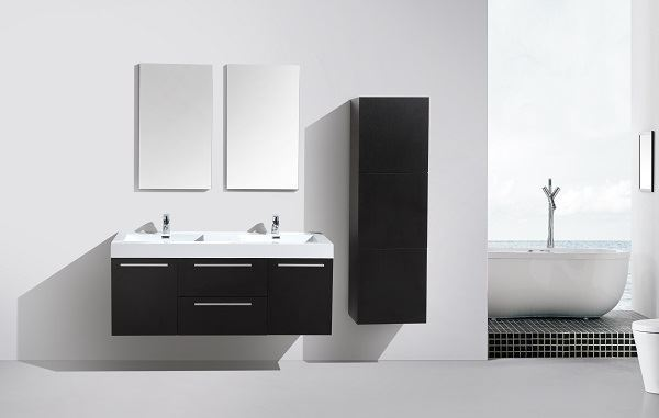 Picture of SALE Novelli BLACK  Double Bathroom Cabinet , 2 doors and 2 drawers, DELIVERED to CAPE TOWN