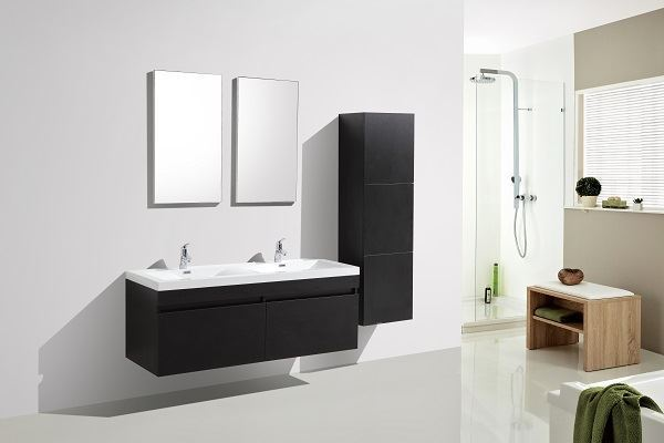Picture of SALE Vetto BLACK Bathroom Cabinet  with Wavy Double Basins 1440 mm L, 2 drawers, DELIVERED to CAPE TOWN
