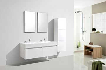 Picture of Vetto WHITE Bathroom Cabinet with Wavy Double Basins 1440 mm L, 2 drawers, DELIVERED to CAPE TOWN