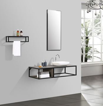 Picture of Picasso Modern bathroom vanity 1300 mm L with black iron frame / textured Stone Ash counter 5 pcs set DELIVERED to CAPE TOWN