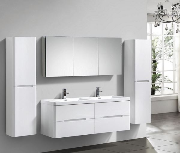 Picture of Venice WHITE trendy double bathroom cabinet 1500 mm L, 4 drawers, DELIVERED to CAPE TOWN