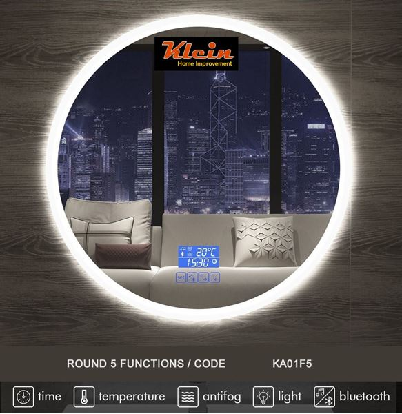 Picture of Round LED Bathroom Mirror 600 mm diameter with Bluetooth speaker Ref KA01F5