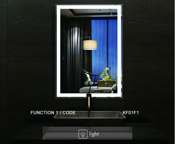 Picture of LED Bathroom Mirror with Touch On/OFF Switch, ref KA17F1