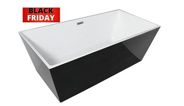 Picture of BLACK FRIDAY Bijiou JURA Freestanding BLACK & White seamless acrylic bath 1700 mm L