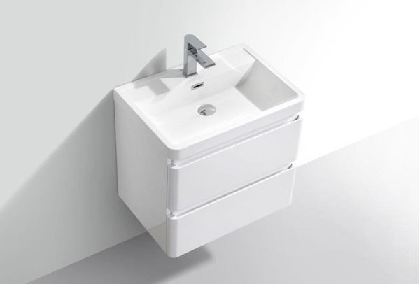Picture of Modern WHITE Bathroom cabinet 600 mm L, basin with ANTI-SPILL edges, 2 drawers , ref KGG600