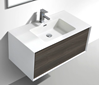 Picture of Modena Bathroom cabinet with Stone / Quartz Basin, 900 mm L, 1 drawer, WHITE & CART OAK, DELIVERED to CAPE TOWN