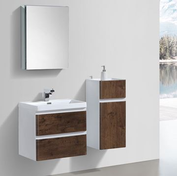 Picture of ROSE WOOD and WHITE Contemporary Bathroom cabinet 600 mm L 2 drawers DELIVERED to CAPE TOWN
