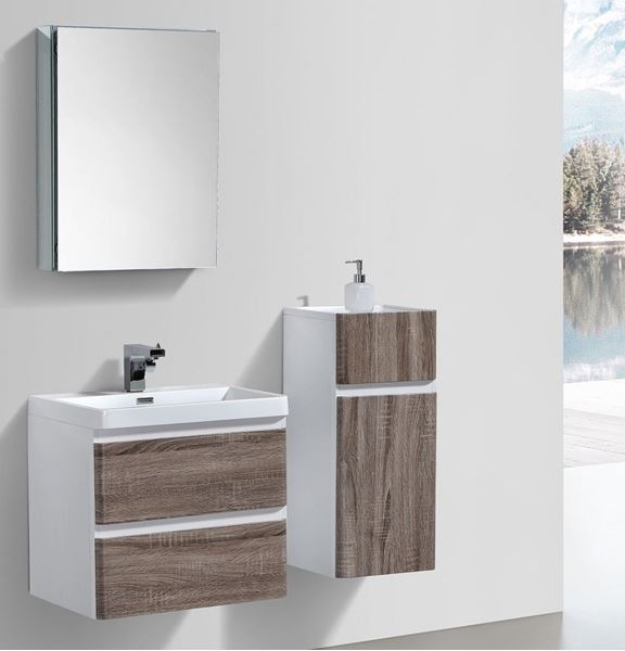 Picture of SILVER OAK and WHITE Contemporary Bathroom cabinet 600 mm L 2 drawers DELIVERED to CAPE TOWN