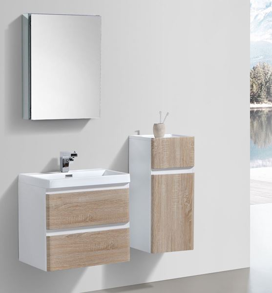 Picture of WHITE OAK and WHITE Contemporary Bathroom cabinet 600 mm L 2 drawers DELIVERED to CAPE TOWN