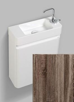 Picture of Milan Extra slim SILVER OAK & WHITE bathroom cabinet  SET 450 x 182 x 550 H