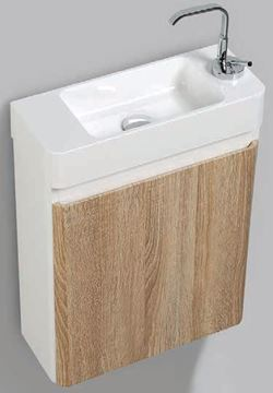 Picture of Milan Extra slim WHITE OAK & WHITE bathroom cabinet set  with 1 door, 450 x 182 x 550 H