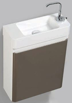Picture of Extra slim GREY & WHITE bathroom cabinet  with 1 door, 450 x 182 mm DELIVERED to CAPE TOWN