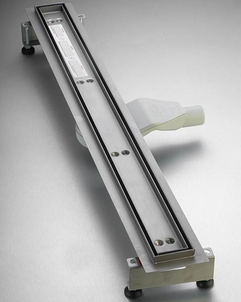 Picture of 900 mm L Stainless Steel Shower Channel  TILE insert with flat siphon and adjustable feet