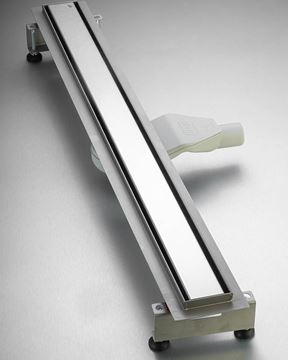 Picture of 900 mm long Polished Stainless Steel Shower Channel solid cover with flat siphon and adjustable feet