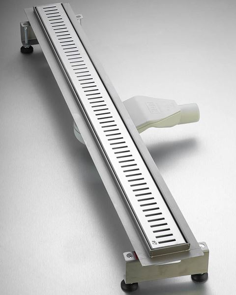 Picture of 900 mm long Polished Stainless Steel Shower Channel Slotted grid with flat siphon and adjustable feet