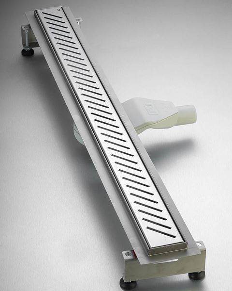 Picture of 900 mm long Polished Stainless Steel Shower Channel Obilque Slotted grid with flat siphon and adjustable feet