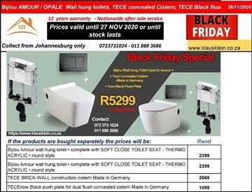 Picture of BLACK FRIDAY Combo deal BIJIOU wall hung toilets ( Amour or Opale) + TECE concealed cistern + TECE BLACK dual flush plate