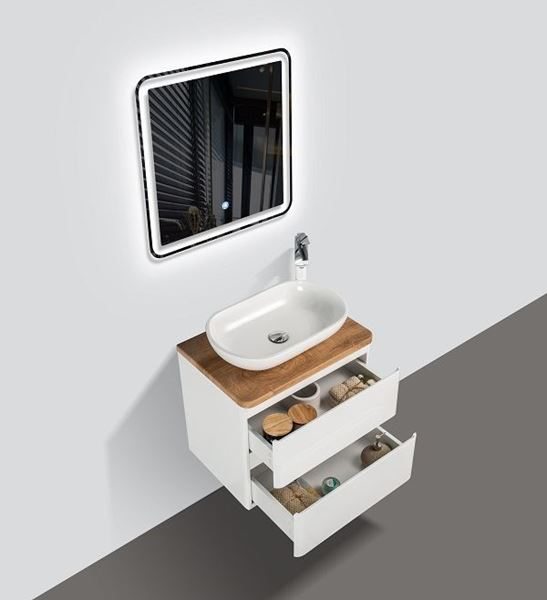 Picture of Lazio Bathroom cabinet 600 mm with 2 drawers, wooden countertop and basin