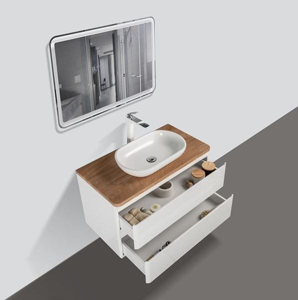 Picture of Lazio Bathroom cabinet 900 mm with 2 drawers, wooden countertop and basin