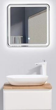 Picture of Lazio Bathroom cabinet 600 mm with 1 drawer, wooden countertop and basin
