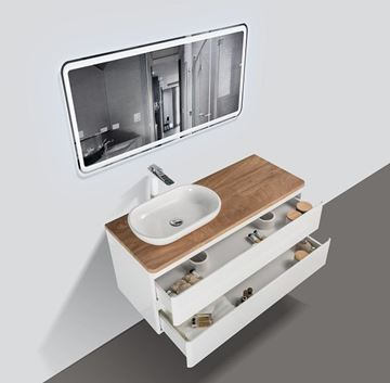 Picture of Lazio Bathroom cabinet 1200 mm with 2 large drawers, wooden countertop and basin