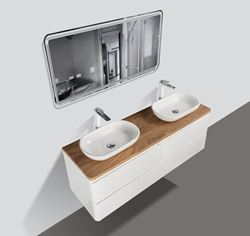 Picture of Lazio Double Bathroom cabinet 1500 mm with 4 large drawers, wooden countertop and 2  basins