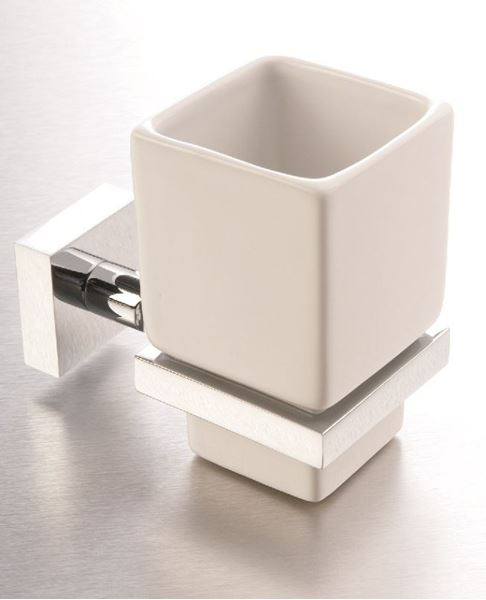 Picture of IMOLA TUMBLER Holder, Brass and Ceramic, square style