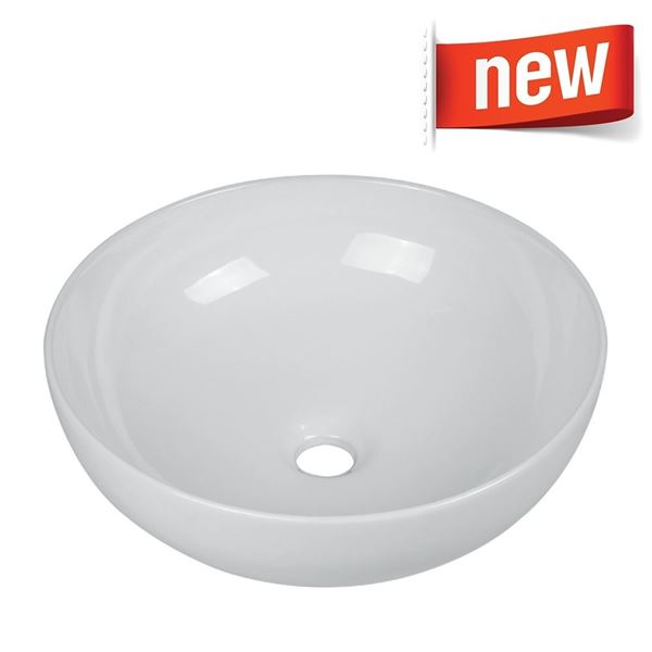 Picture of Round vitreous china basin 410 mm diameter without tap hole