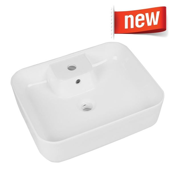 Picture of Rectangular basin 520 mm x 410 mm x 165 mm, made of vitreous china