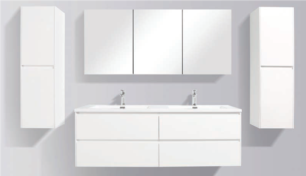 Picture of Enzo 1500 mm L White Double bathroom cabinet SET with 4 soft closing drawers