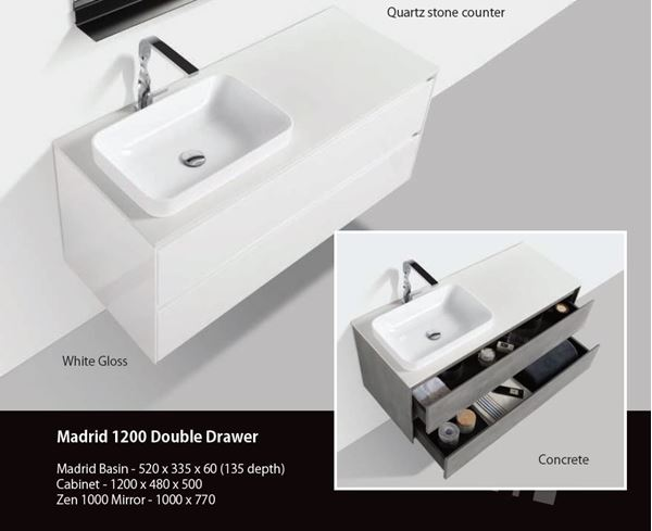 Picture of Madrid 1200 mm WHITE cabinet SET with 2 drawers, Quartz stone countertop & one basin