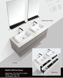 Picture of Madrid 1500 mm L WHITE cabinet SET with 4 drawers, Quartz stone countertop & 2 basins