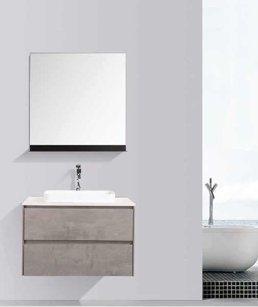 Picture of Madrid 800 mm CONCRETE cabinet SET with 2 drawers, Quartz stone countertop & basin