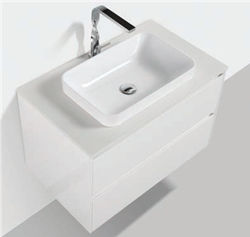 Picture of Madrid 800 mm WHITE cabinet SET with 2 drawers, Quartz stone countertop & basin