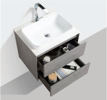 Picture of Madrid 600 mm CONCRETE cabinet SET with 2 drawers, Quartz stone countertop & basin