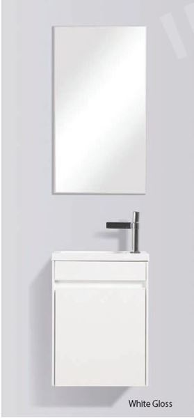Picture of Enzo WHITE small bathroom cabinet SET 400 x 220 mm, 1 door with Blum hinges