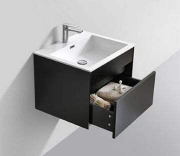 Picture of Modern BLACK bathroom cabinet SET 600 mm L with 1 drawer