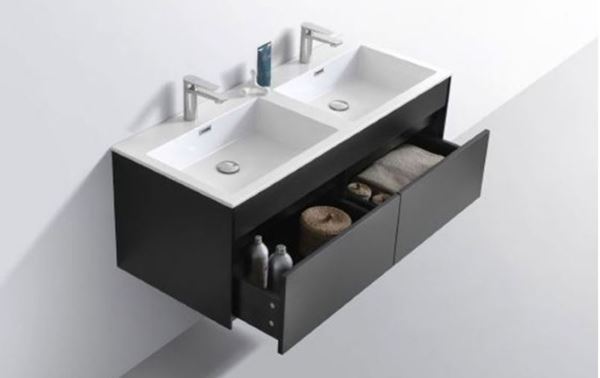 Picture of Modern BLACK Double Bathroom Cabinet  SET 1200 mm L with 2 drawers