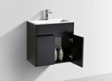 Picture of Modern BLACK bathroom cabinet SET 550 mm length with 2 doors