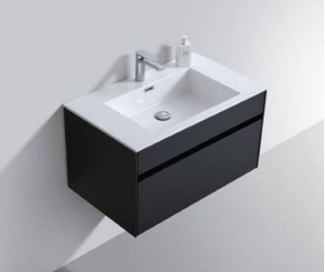 Picture of Modern BLACK bathroom cabinet SET 800 mm L with 1 drawer