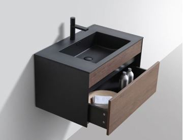 Picture of Stunning 800 mm L bathroom cabinet SET in BLACK and Brown with 1 soft closing drawer