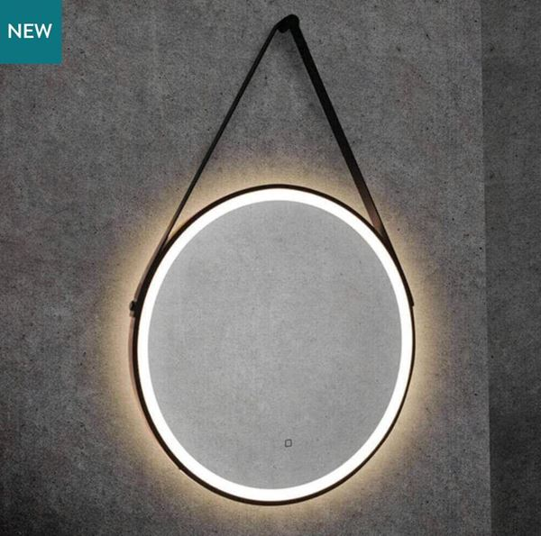 Picture of LED Round Mirror Black Frame 700 mm with Black Straps