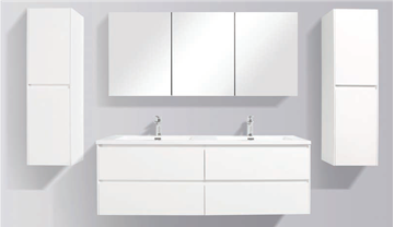 Picture of Enzo 1500 mm L White Double bathroom cabinet SET DELIVERED to Cape Town